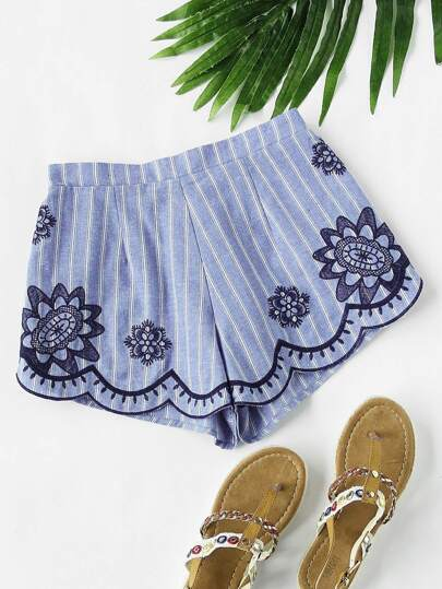 Scallop Edge Embroidered Pinstripe Shorts
