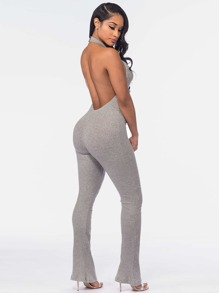 Backless Halter Marled Ribbed Knit Catsuit