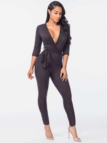 Plunging V-neckline Self Tie Surplice Catsuit