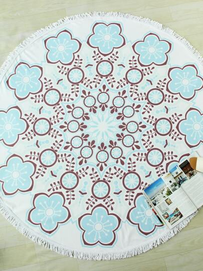 Flower Print Fringe Trim Round Beach Blanket