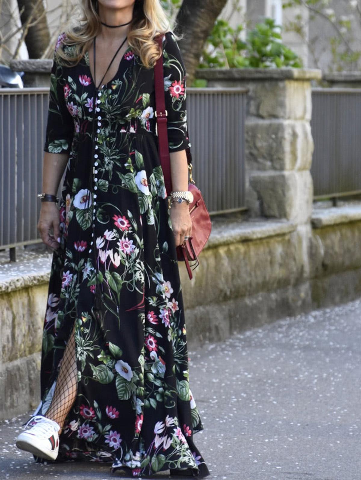 印花布 束帶 前扣式 馬克西禮服