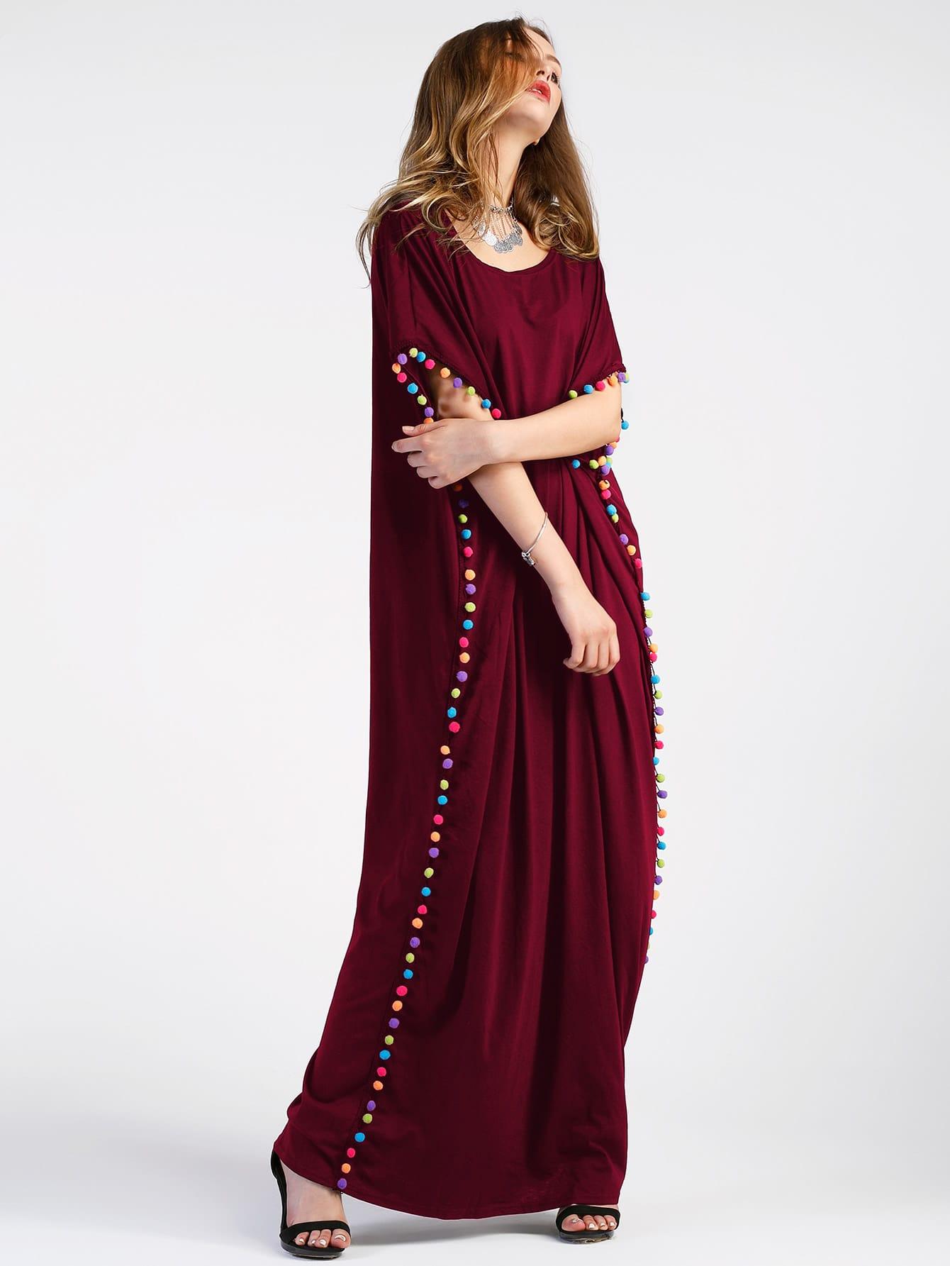 Pom-pom Trim Full Length Kaftan Dress