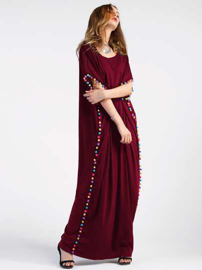 Pom-pom Trim Full Length Kaftan Dress