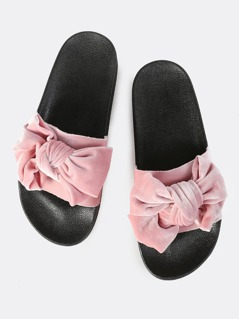 Velvet Bow Slip On Slides BLUSH