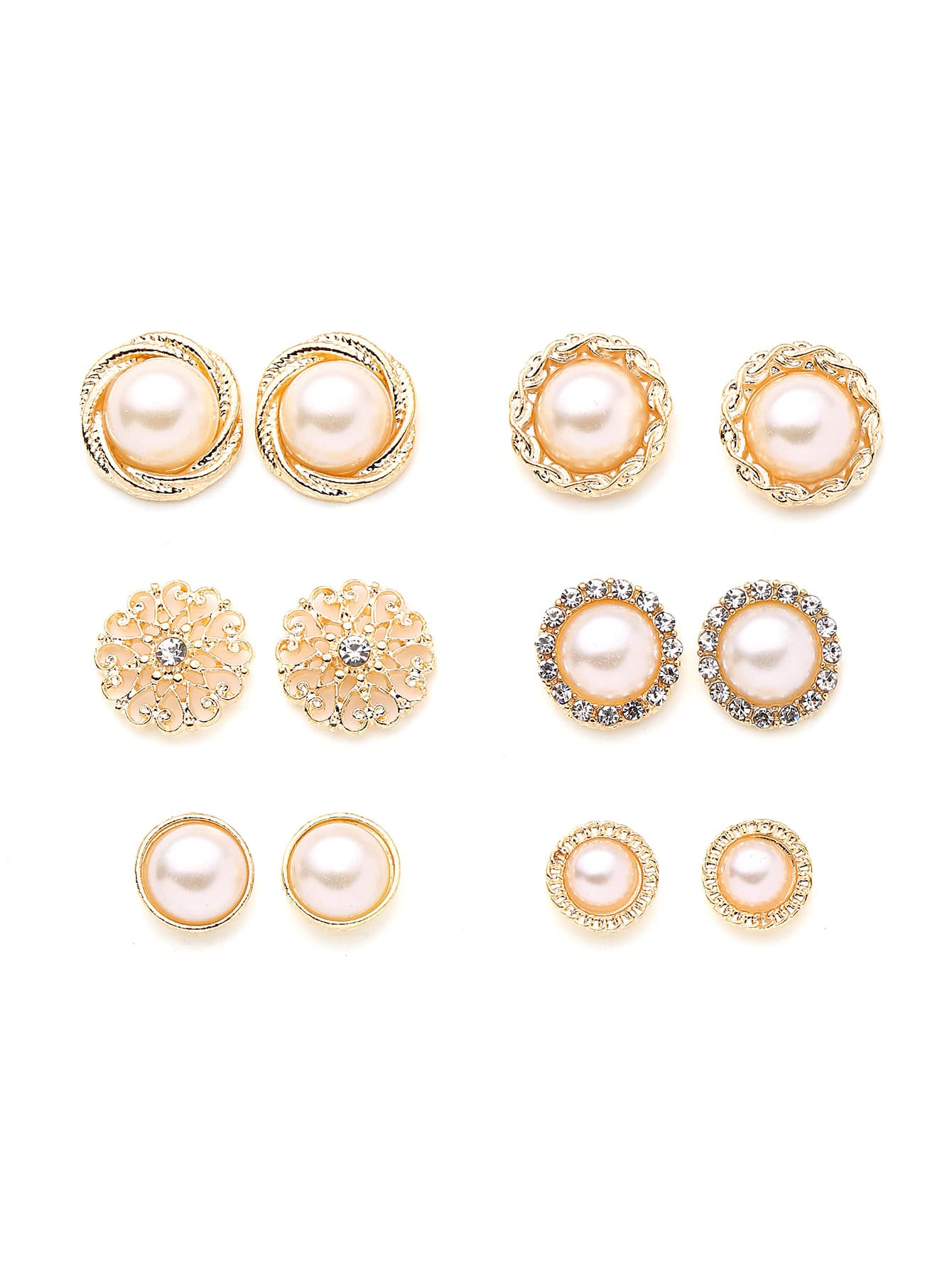 Faux Pearl And Rhinestone Design Stud Earring Set free shipping 10pcs max995esd