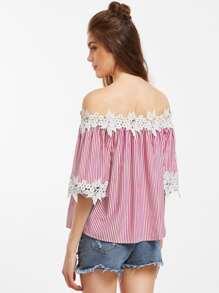 Vertical Striped Off Shoulder Lace Applique Blouse pictures