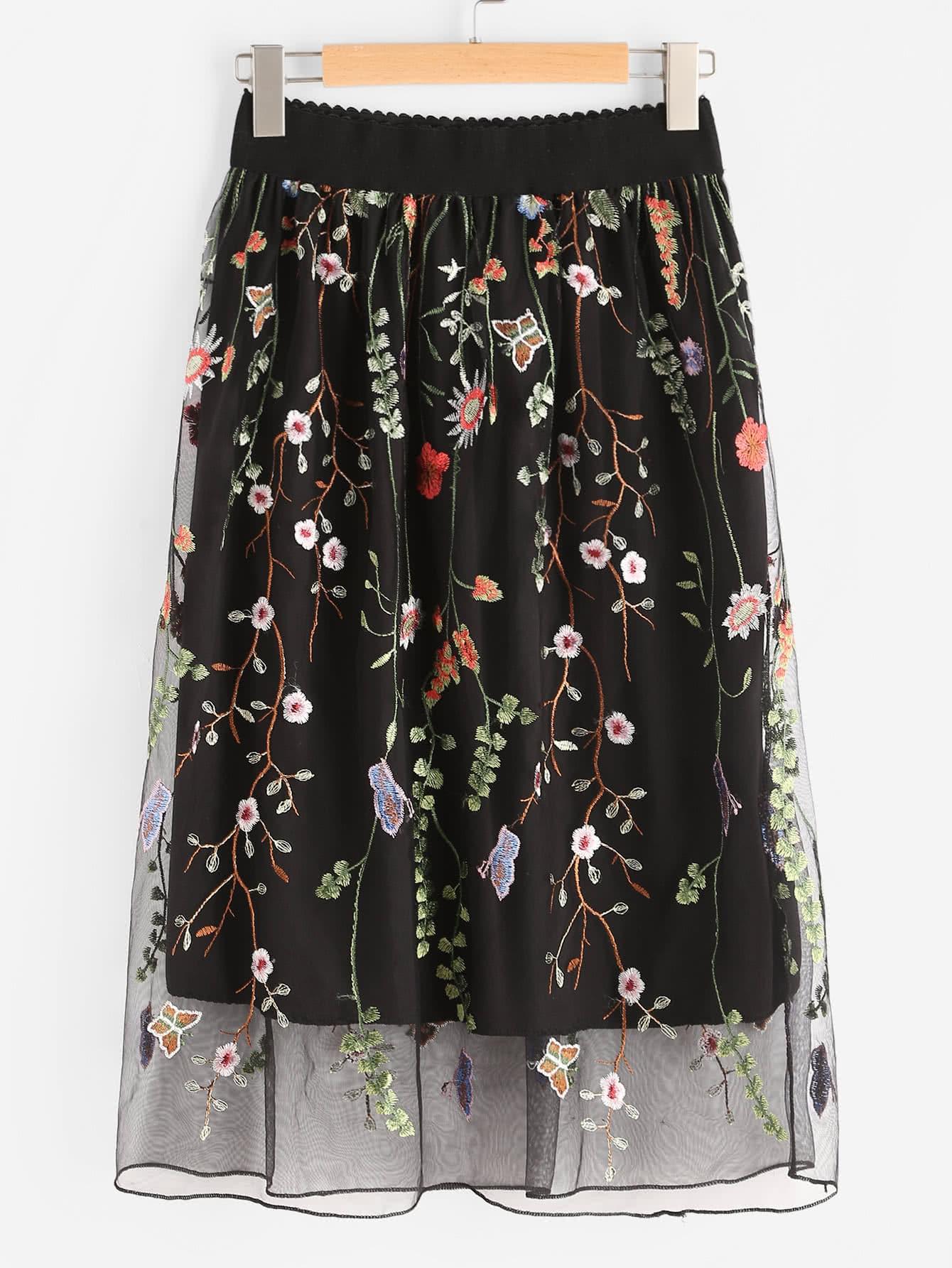 All Over Flower Embroidered Mesh Overlay Skirt