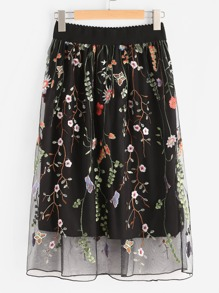 All Over Flower Embroidered Mesh Overlay Skirt