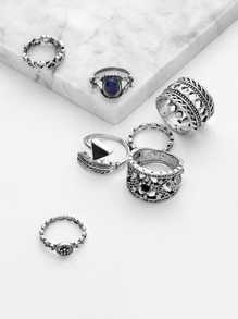 Gemstone Embellished Hollow Ring Set 7pcs