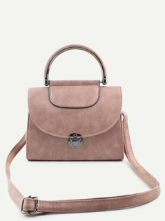 PU Pushlock Flap Handbag With Strap