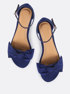 Open Toe Bow Sandal Flats NAVY