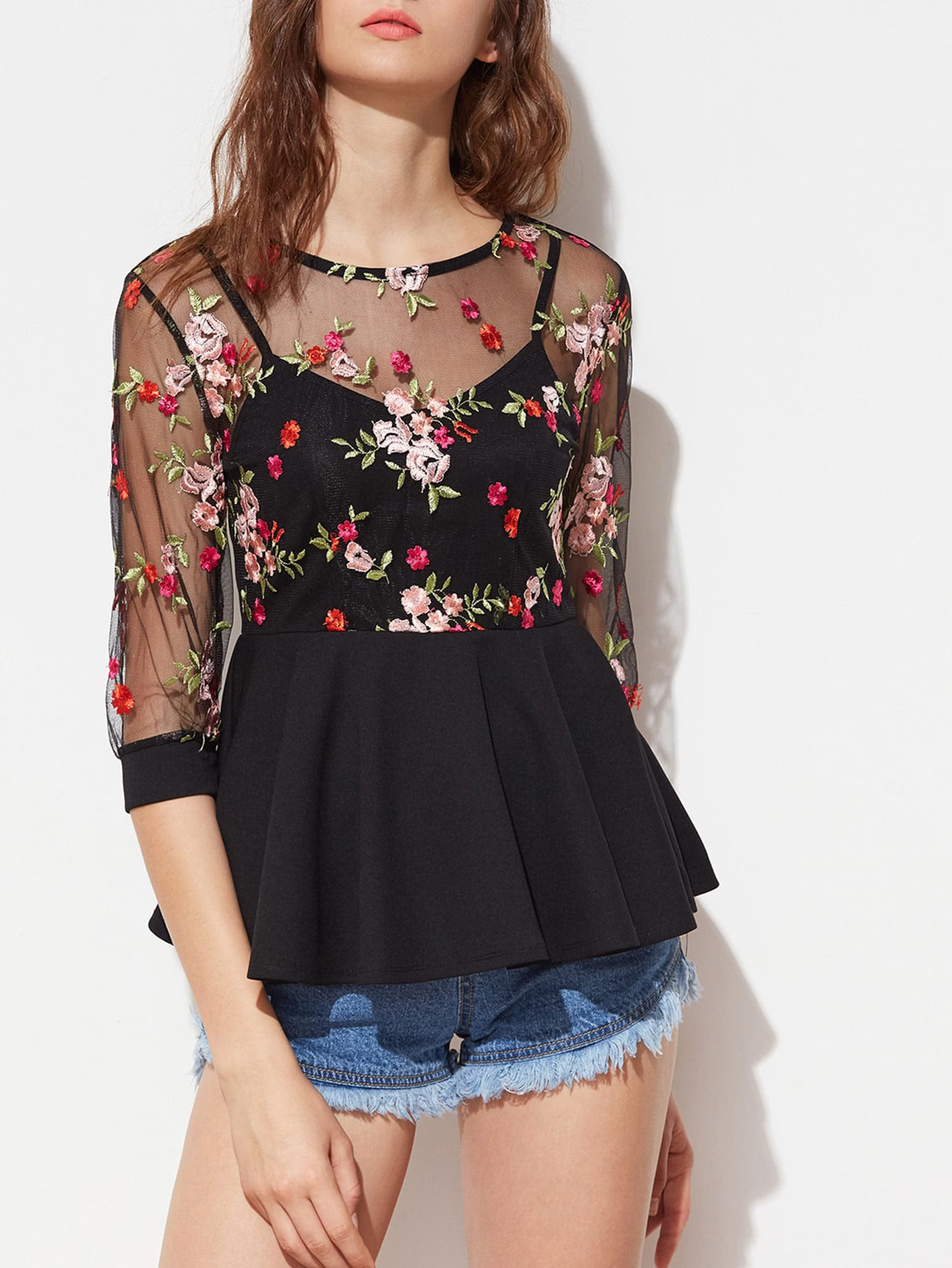 Flower Embroidered Mesh Overlay 2 In 1 Peplum Top