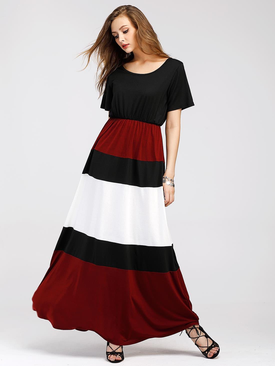 Color Block Full Length Dress color block full length tee dress