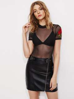 Embroidered Rose Applique Mesh Bodysuit