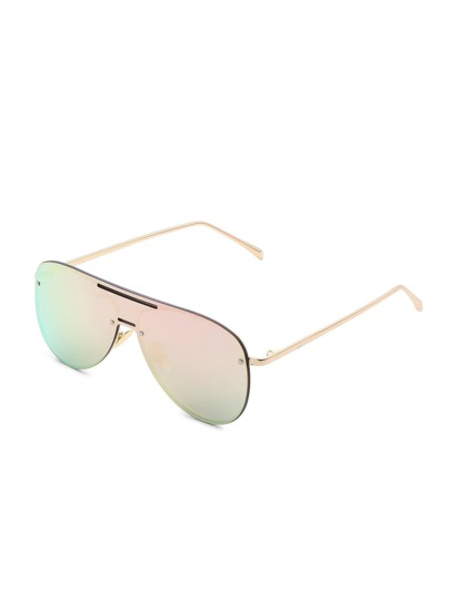 Rimless Visor Aviator Sunglasses