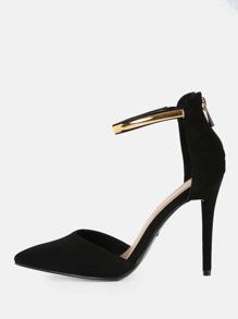 Gold Anklet Closed Toe Heels BLACK