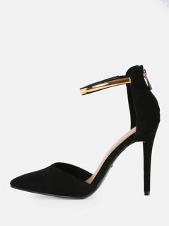 Gold Anklet Closed Toe Heels BLACK