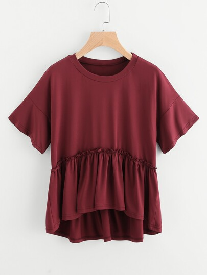 Drop Shoulder Dip Hem Smock Tee