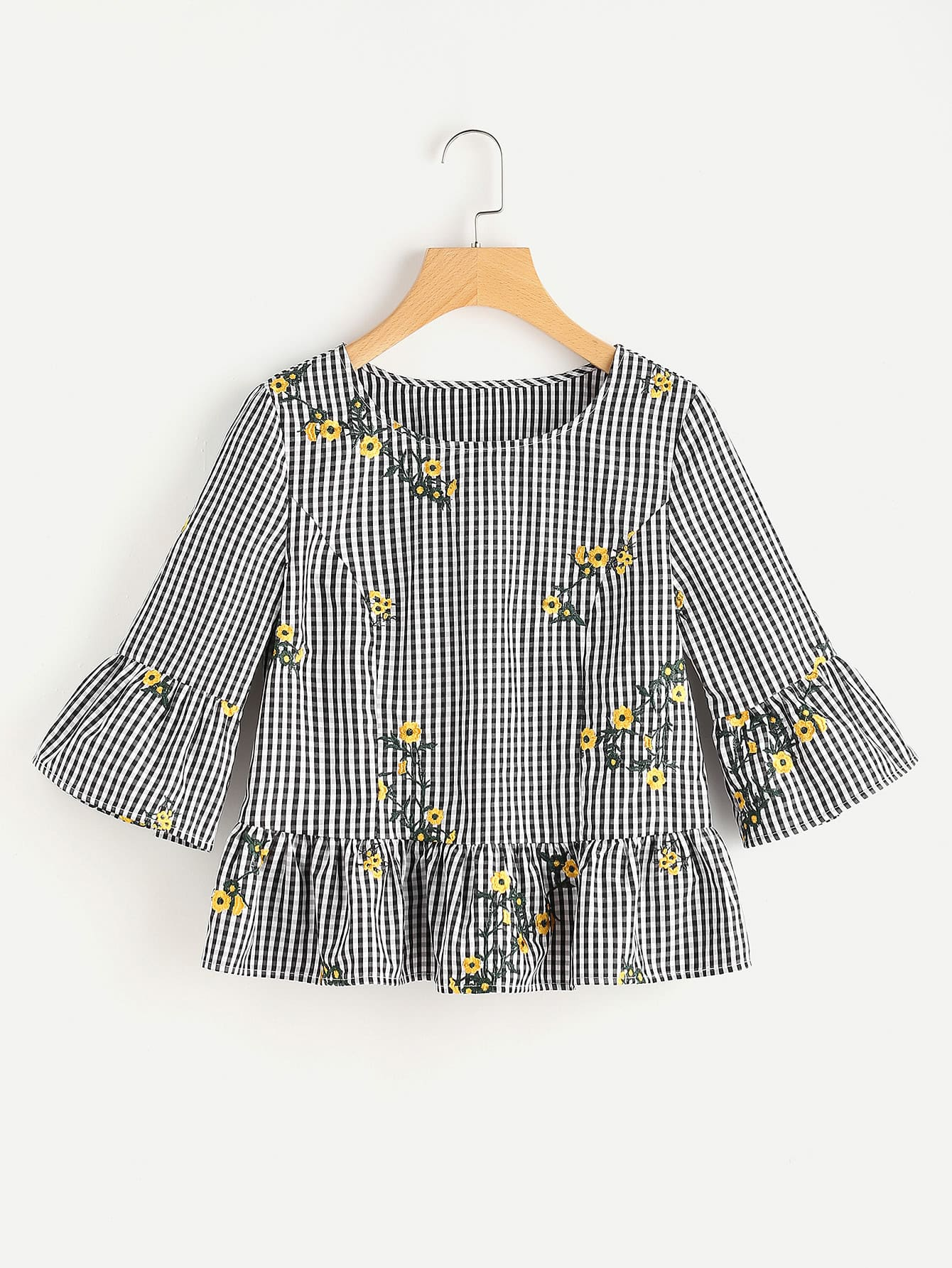 Фото Blossom Embroidered Fluted Sleeve Checkered Top. Купить с доставкой