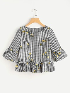 Blossom Embroidered Fluted Sleeve Checkered Top