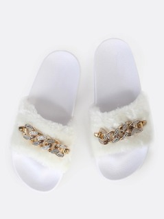 Faux Fur Link Slides WHITE