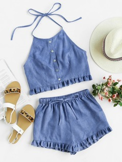 Buttoned Front Princess Seam Halter Top And Shorts Set