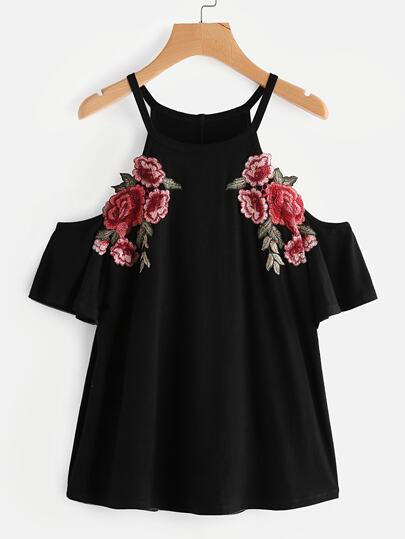 Embroidered Rose Patch Cold Shoulder Tee