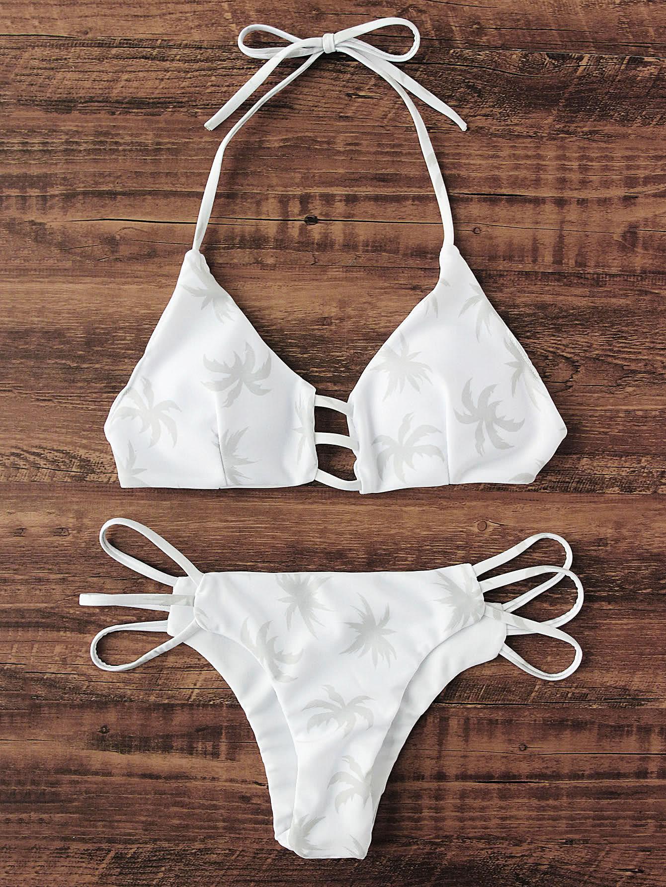Фото Palm Tree Print Ladder Cutout Bikini Set. Купить с доставкой
