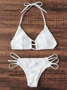 Palm Tree Print Ladder Cutout Bikini Set
