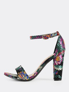 Oriental Embroidered Ankle Strap Heels BLACK