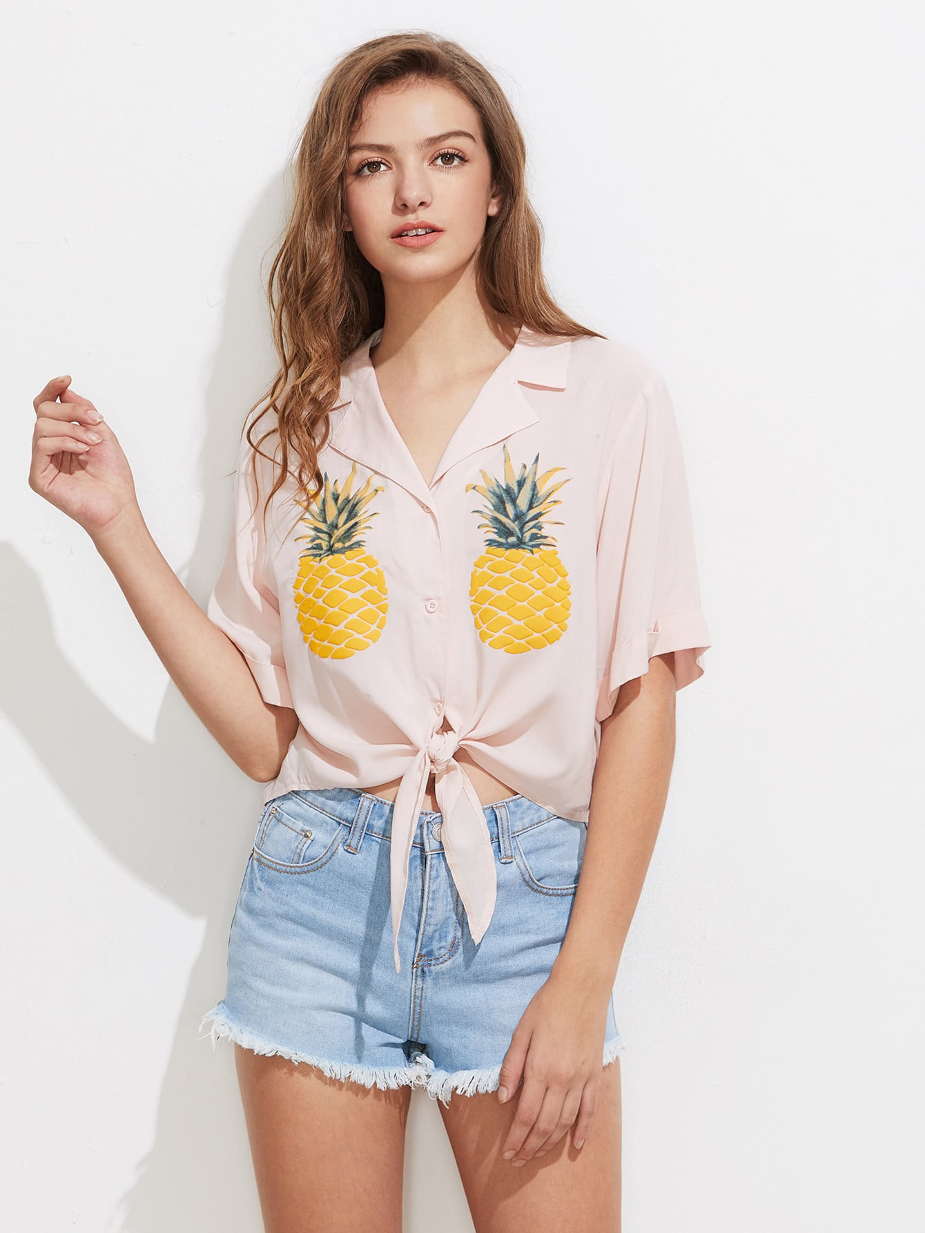 Фото Notch Collar Pineapple Print Tie Front Blouse. Купить с доставкой