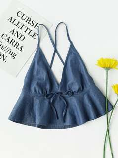 Crisscross Back Flounce Chambray Cami Top