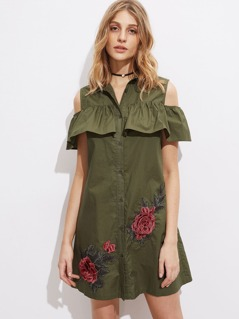 3D Rose Patch Open Shoulder Flounce Shirt Dress