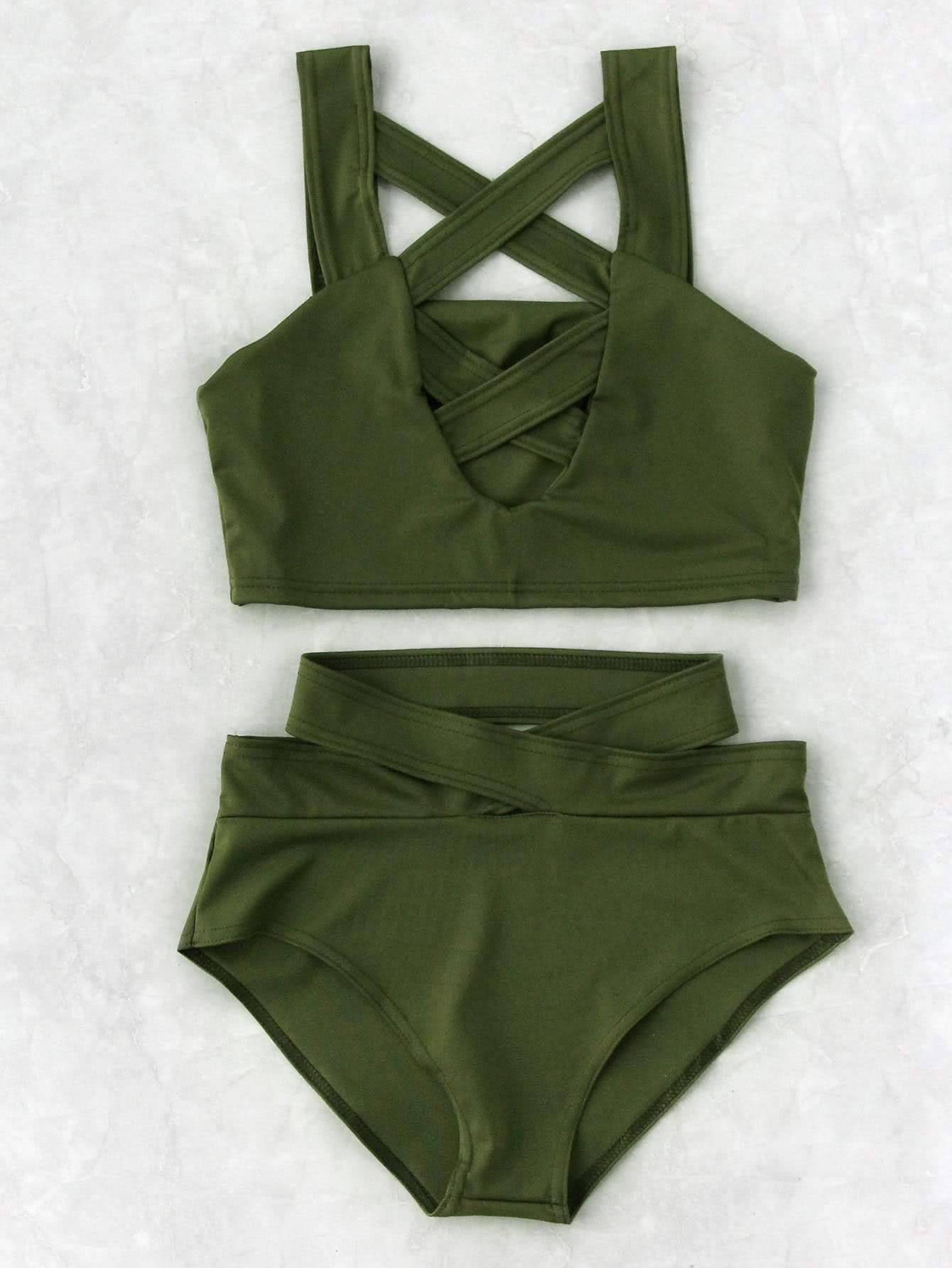 Criss Cross Cut Front High Waist Bikini Set tie side criss cross front bikini set