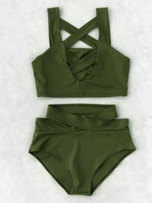 Criss Cross Cut Front High Waist Bikini Set
