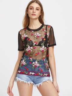 Flower Embroidered Tulle Top