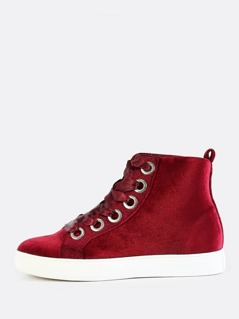 Ribbon Lace Up Sneakers BURGUNDY