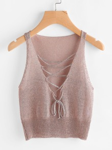 Plunging Lace Up Knit Tank Top