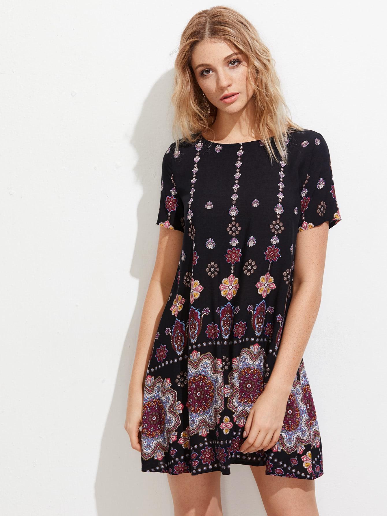 Фото Mandala Print Short Sleeve Dress. Купить с доставкой