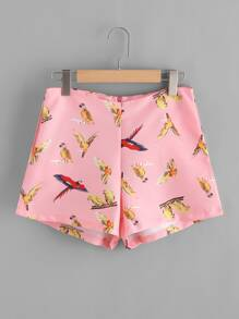 Pantaloncini con stampa di uccello
