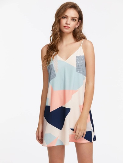 Double V Neck Color Block Cami Dress