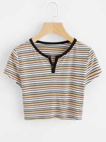Contrast Neck Rib Knit Crop Striped Tee