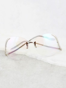 Rimless Aviator Drop Glasses SILVER