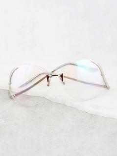 Rimless Aviator Drop Glasses SILVER
