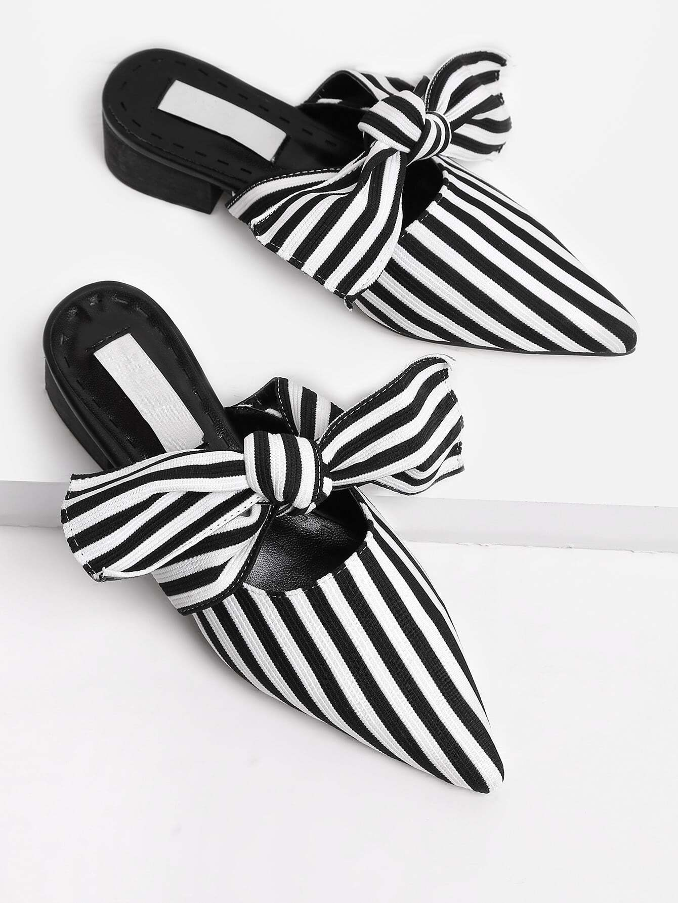 Фото Bow Tie Striped Print Heeled Slippers. Купить с доставкой