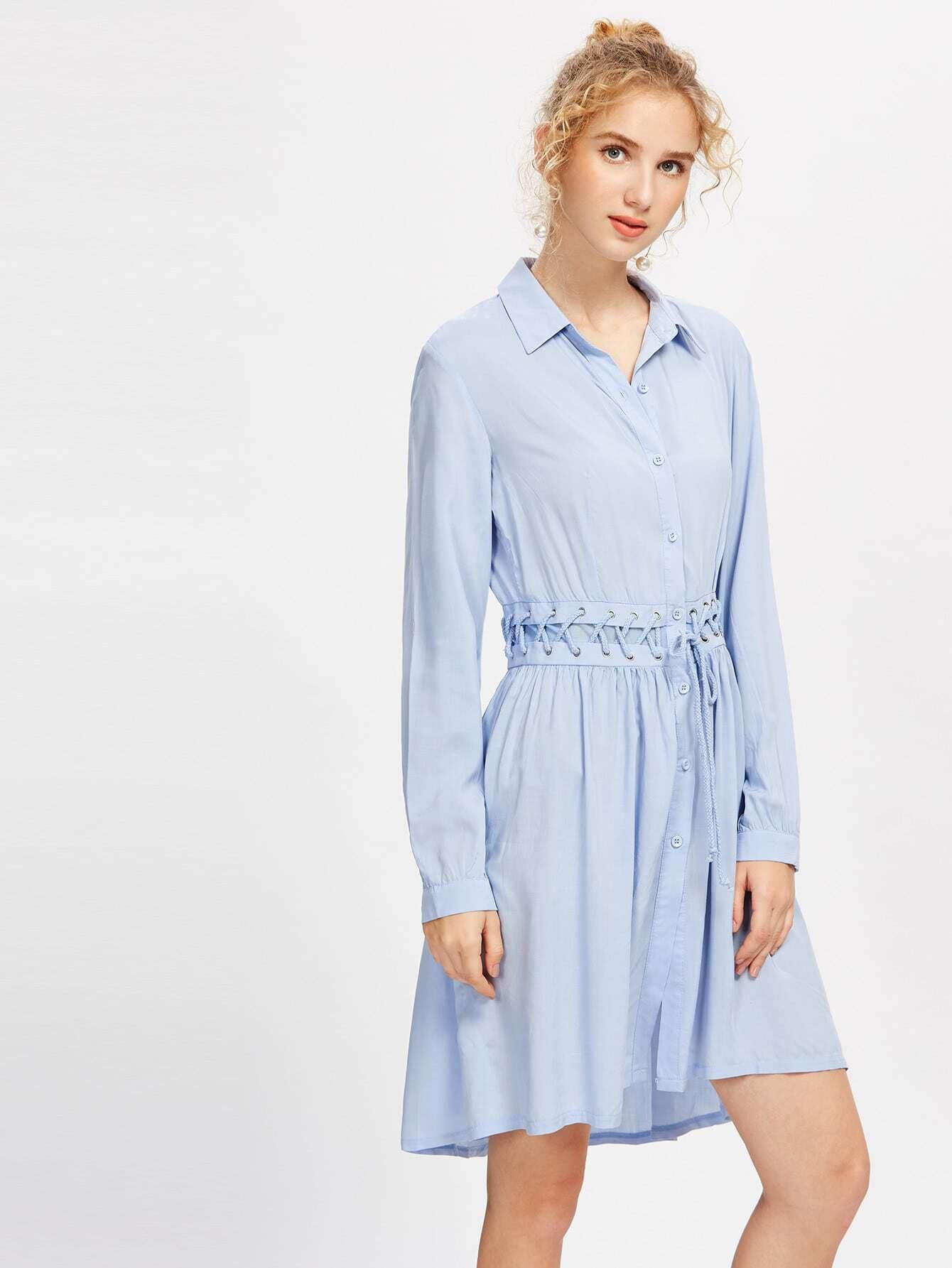 Фото Eyelet Lace Up Waist Shirt Dress. Купить с доставкой