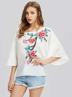 Flower Blossom Applique Fluted Sleeve Top