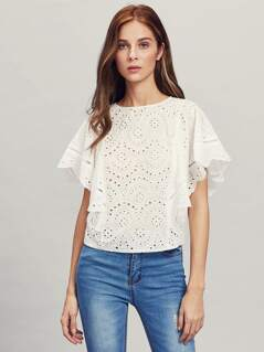 Ladder Lace Insert Cape Sleeve Eyelet Embroidered Top