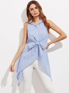 Bow Front Button Up Hanky Hem Striped Shirt