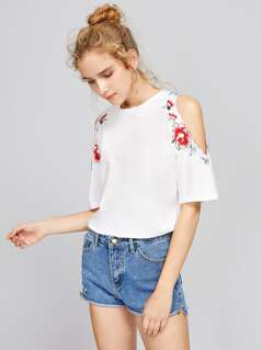Symmetric Embroidery Trim  Open Shoulder Top